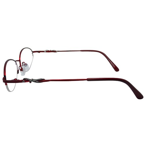 EyeBuyExpress Oval Burgundy Reading Glasses Magnification Strength 4.5