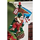 Bucilla 18-Inch Christmas Stocking Felt Applique Kit, 86199 Football Santa