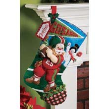 Bucilla 18-Inch Christmas Stocking Felt Applique Kit, 86199 Football Santa