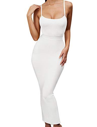 UONBOX Women's Strappy Sleeveless Bottom Slitted Plain Party Bodycon Bandage Dress (XL, White)