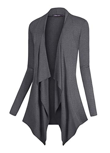 Soft Long Cardigan - Urban CoCo Women's Drape Front Open Cardigan Long Sleeve Irregular Hem (M, Grey)