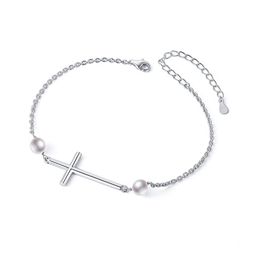 - S925 Sterling Silver Sideways Cross Adjustable Link Bracelet for Women