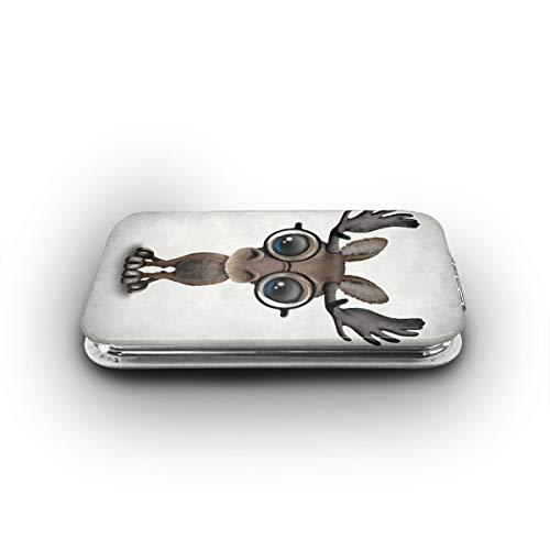 Cute Curious Baby Moose Nerd Wearing Glasses Makeup Mirror Mini Pocket Mirror -