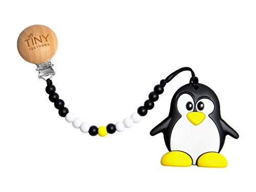Tiny Teethers Pacifier Clip with Teething Toy and Chewbeads for Baby - BPA Free Silicone (Penguin)