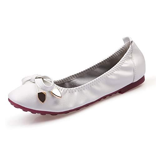 Louis Vuitton Zippy Organizer (Women Soft Leather Ballet Flats Shoes Woman Plus Size 41 Black White Gold Square Toe Bowtie Party Flat Shoes Ladies,White,6.5)