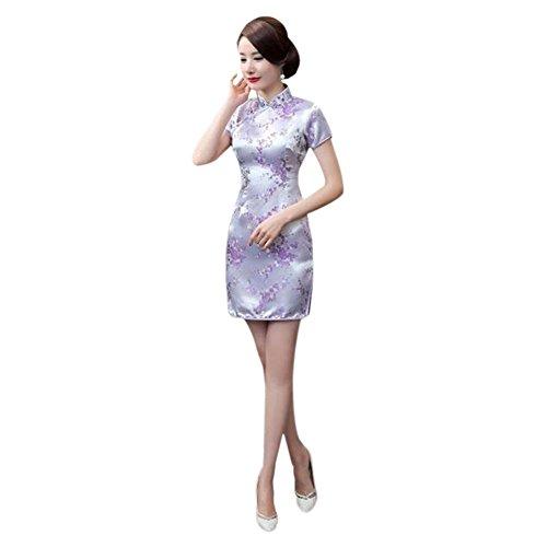 Cheongsam Cinese Donne 15 Maniche Tradizionale Vestito Broccato Stampato da Qipao sera Retro Floreale Hzjundasi corte W1q8ZFxaww