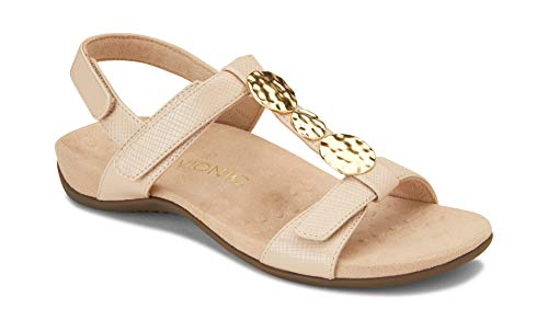 Vionic Women's Rest Farra Backstrap Sandal - Ladies Adjustable Sandals with Concealed Orthotic Support Nude Lizard 7.5 W US