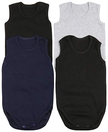 ToBeInStyle Baby Boys' 4 Pack Tank Top Bodysuit Onesies - Basic - 6-9 Months