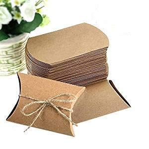 Pack of 100Pcs Paper Kraft Pillow Candy Box with Ropes Party Wedding Favor Gift Supply Flyouth