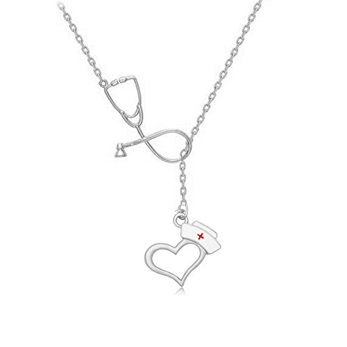 MANZHEN Stethoscope Lariat necklace Nurse Hat Charm Necklace Medical Students Gift (silver)