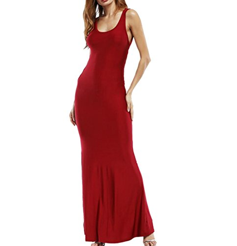 Backless BeachTank Wine Flared Dress up Lace Women Maxi Back Domple Sleeveless Red Sexy qwt18Pp