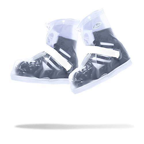 Frelaxy Waterproof Rain Boot Shoe Cover Overshoes Galoshes, Reusable & Foldable Rain Boots with Reflector Cycling Motorcycle Fishing Men Women Kids (1 Pair) (White, 3XL: Women: 9.5-10.5/Men:9-10)