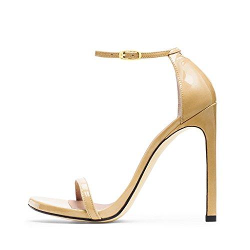 Sandali Con Cinturino Alla Caviglia Fsj Da Donna Open Toe Scarpe Con Tacco Alto Per Donna Da Ufficio Taglia 4-15 Us Beige