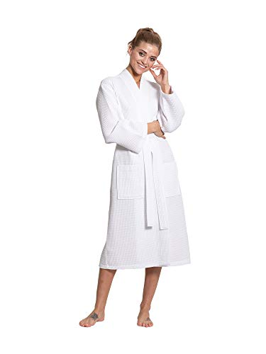 Turkuoise Linen Premium Cotton Blend Lightweight Long Waffle Kimono Bath and Spa Robe White ()