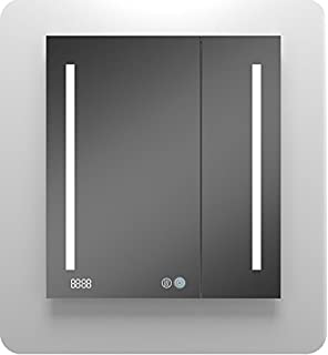 Amazon diamond x collection amaze led mirror bathroom mirrored aquadom mirror glass cabinet for bathroom signatureroyale with dimable led light integrated clock aloadofball Images