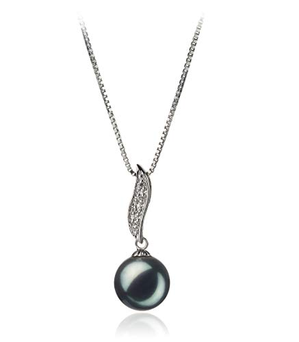Alicia Black 9-10mm AA Quality Freshwater 925 Sterling Silver Cultured Pearl Pendant For Women (Pearl Fw Pendant Necklace)