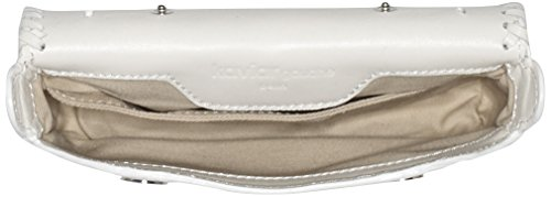 kaviar gauche Damen Mini Satchel Bag Braided Umhängetaschen, 18x12x3 cm Weiß (Ivory/Silver)