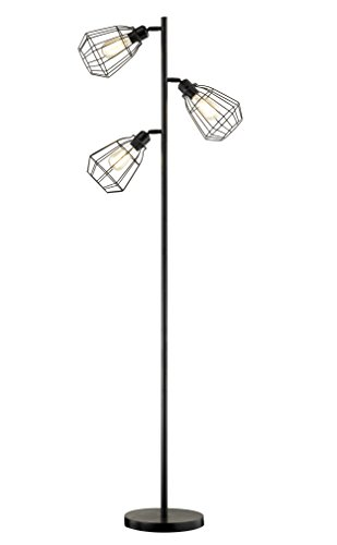 Modern 3-Light Tree Floor Lamp Black Rustic Bright Tall Standing Up Torchiere Floor Lamps Shade Vintage Industrial Style with Reading Light for Living Rooms, Bedrooms, Office
