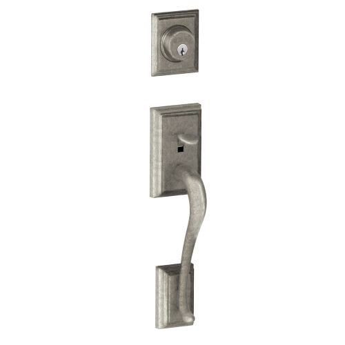 Schlage F58-ADD Addison Single Cylinder Exterior Entrance Handleset from the F-S, Distressed Nickel