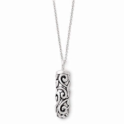 (Sterling Silver Antiqued Cylinder Remembrance Ash Holder 18in Necklace, Best Quality Free Gift Box)