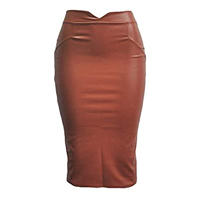 Women's Faux Leather Pencil Skirts High Waist Fleece Bodycon Midi Club PU Skirt