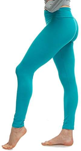LMB Lush Moda Extra Soft Leggings - Variety of Colors - Yoga Waist - Teal