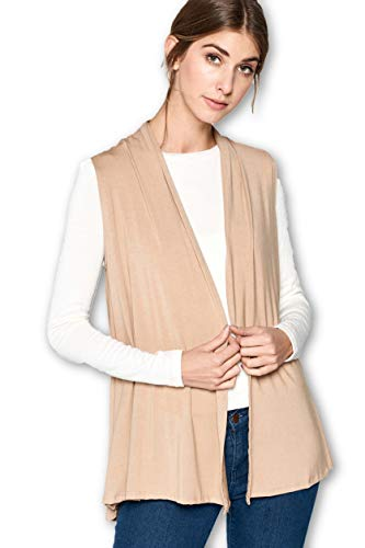 (ReneeC. Women's Extra Soft Natural Bamboo Sleeveless Cardigan - Made in USA (X-Large, Coffee))