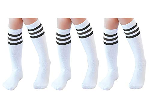 Knee High Tube Socks for Boys, Girls, Baby, Toddler & Child 3 Pairs(Black Strips,13.5in/34cm(4-8Years)) (Knee High Tube Socks For Girls)