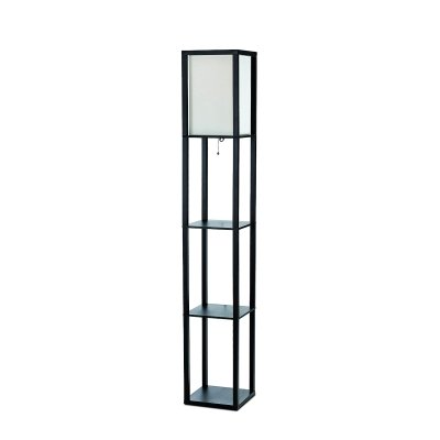 ALTLF1014BLK - Simple Designs Black Floor Lamp Etagere Organizer Storage Shelf with Linen Shade by Simple Designs