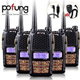 Baofeng Pofung 5PCS UV-6R UHF/VHF Dual-Band Dual Display 136-174/400-520MHz High Power 5W/1W Two-Way radio Walkie Talkie Transceiver with 5PCS BF-S112 Speaker+Programming Cable