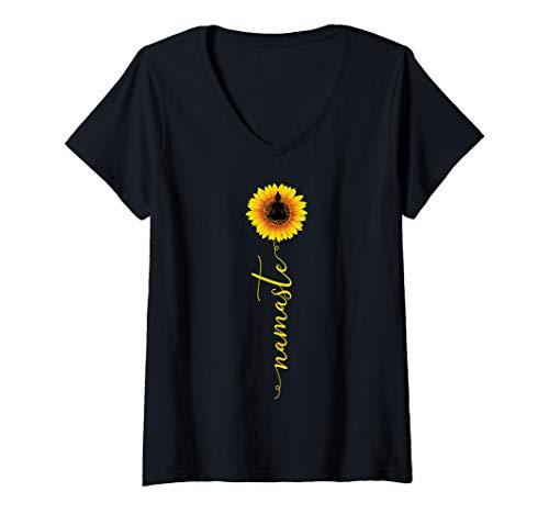 Womens Namaste Sunflower Yoga Trendy Hippie Buddha Meditation Gift V-Neck T-Shirt