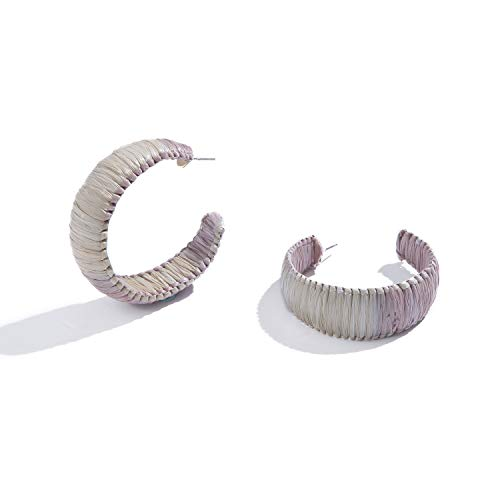 Handmade Raffia Earrings Lightweight Geometric Straw Dangle