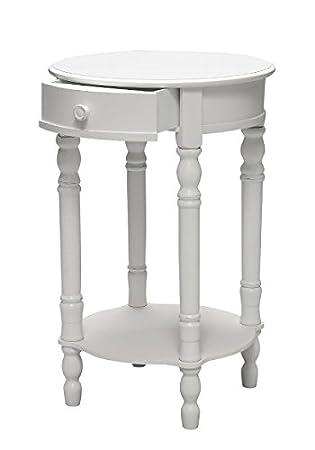 Elbmöbel Nachttisch Beistelltisch Weiß Antik Schmal Rund Mit Schublade  (Weiß, B45 X H75 X