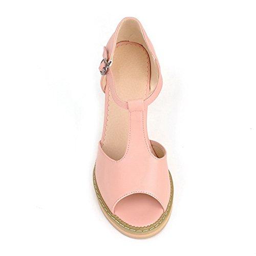 Amoonyfashion Donna Open Peep Toe Tacco Alto In Materiale Morbido E Robusto Sandali Con Cinturino In T-strap Rosa