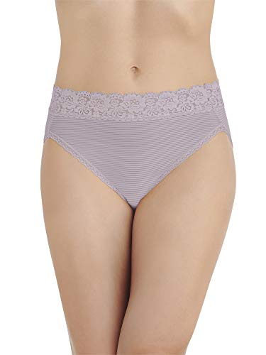 Vanity Fair Women's Flattering Lace Hi Cut Panty 13280, Earthy Grey Stripe, -