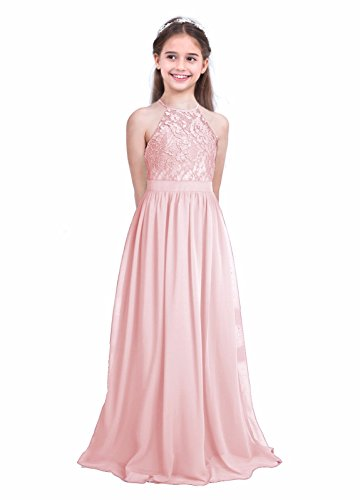 iEFiEL Girls Halter Lace Chiffon Flower Wedding Bridesmaid Dress Junior Ball Gown Formal Party Pageant Maxi Dress Pearl Pink (Halter Wedding Gown Dress)