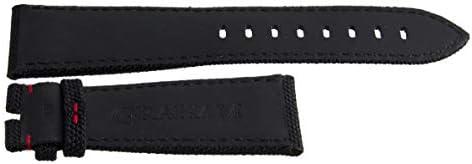 Bracelet de Montre Graham en Tissu Noir avec Coutures Rouges 24 mm x 20 mm