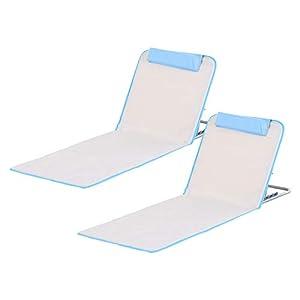 Outsunny Conjunto de 2 Esterillas de Playa con Respaldo Reclinable en 5 Niveles Bolsa de Transporte y Reposacabezas 48x134x36-45 cm