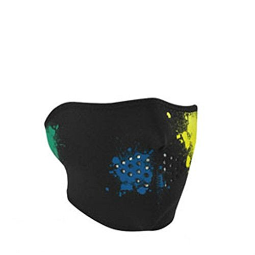 Glow in Dark Paintball Splatter Black Half Neoprene Face Mask Biker Costume Ski by ZIZI SPORTS SUPPLY