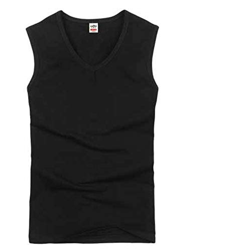 Cotton Big Size Men Clothing Tank Tops Black White Gray Men Vest Tank,Black V-Neck,M