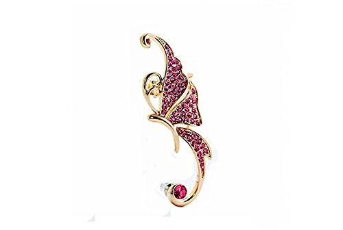 hyidealism 1pieza Vintage buttuerfly oro Color Rosa Gems la oreja Ear plug Puck Roca pendiente para oreja izquierda Beadaholique