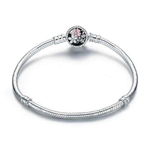 MEETCCY Poetic Blooms Bracelet 100% 925 Sterling Silver Snake Chain European Charm Bead Bangle & Bracelet Fashion Women Jewelry (7.1 Inch(18CM))