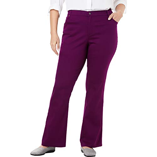 Woman Within Women's Plus Size Bootcut Stretch Jean - Dark Berry, 16 W
