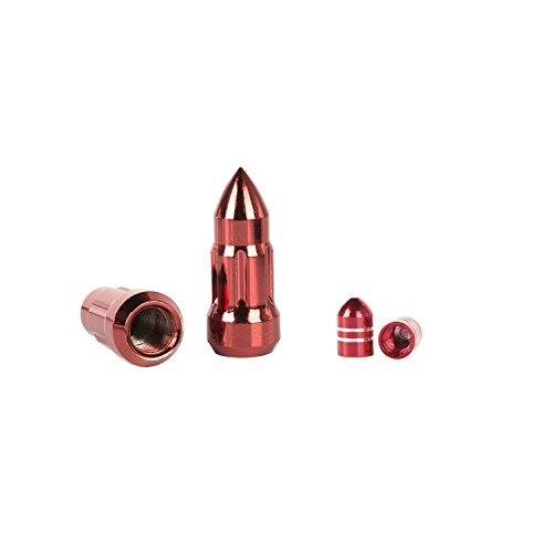 Alloy USA 11293 Red Bullet Lug Nut and Valve Stem Cap Kit, 28 Pack (For 1987-2018 Jeep ()