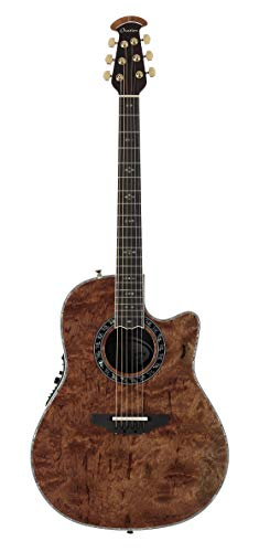 Ovation ExoticWoods Collection 6 String Acoustic Electric Guitar Right, Bubinga Multicolor Deep Contour Body ()
