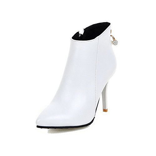 High Women's AgooLar Solid Toe Pointed Heels White Zipper PU Boots T5WWfcUR