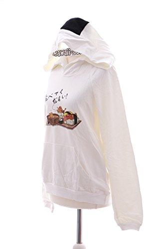 TS-52 Manga Onigiri Sushi Maki Essen weiß Kapuzen Sweatshirt Pullover Pastel Goth Lolita Harajuku Japan Schrift Zeichen