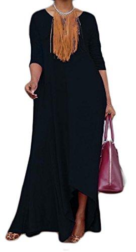 Tasche Del Del Partito Donne Irregolare Di Nero Sera Collo Paletta Lungo Vestito Bordo Comodi qtXtUzE