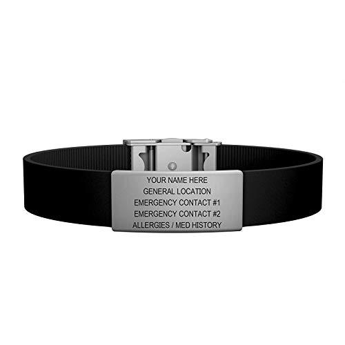 - Road ID Bracelet - the Wrist ID Elite 13mm - Stainless Classic - Identification Bracelet, ID Wristband, Child ID, and Sport ID - Fits Adults & Kids (Black)