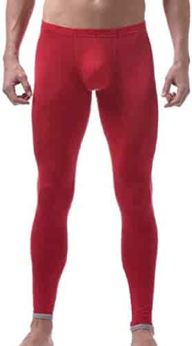 9b290d61af308e GRMO Men Silk Leggings Low Rise Sleepwear Long Underwear Pants Thermal Pant